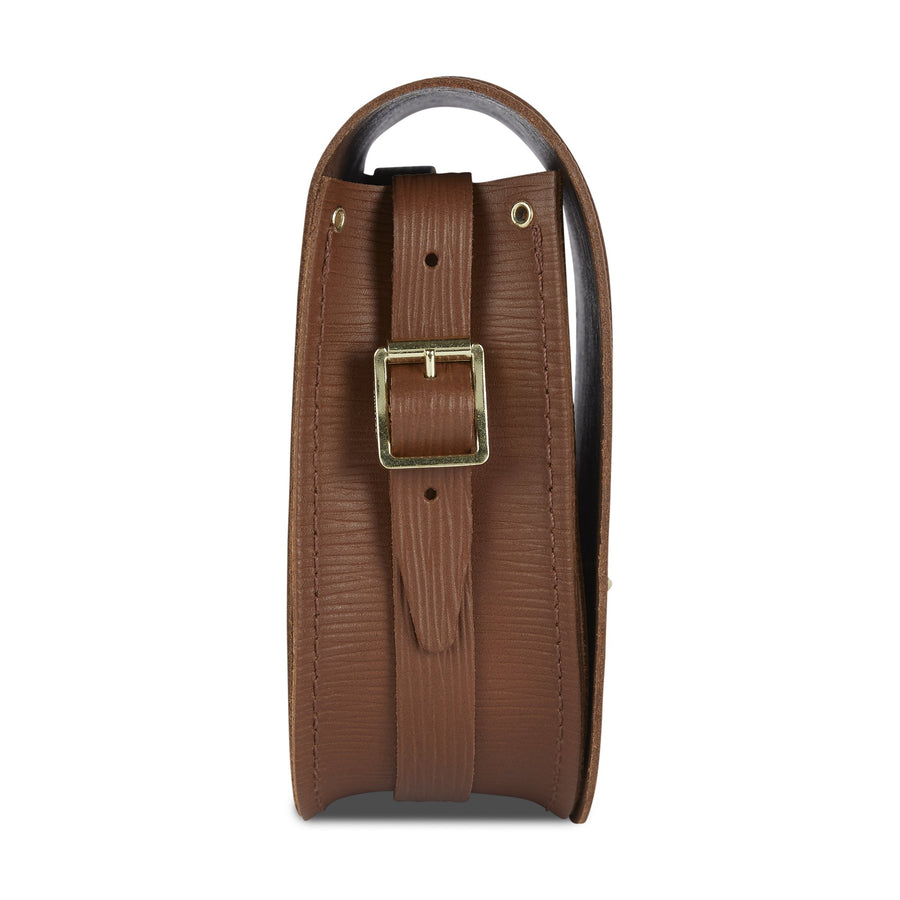 Saddle Bag in Leather - Vintage Stripe Grain