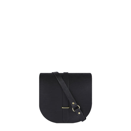 Saddle Bag in Leather - Black Stripe Grain | Cambridge Satchel