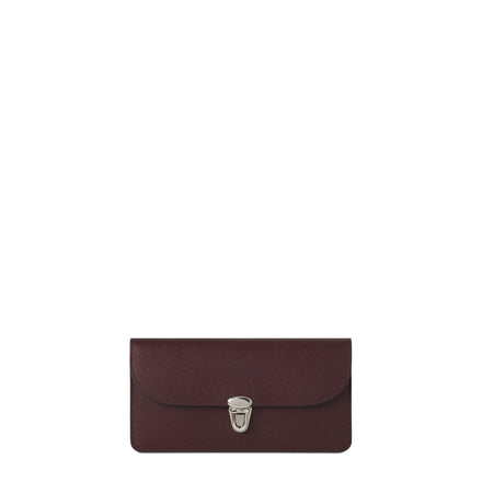 Push Lock Purse with Card Slots in Saffiano Leather - Oxblood