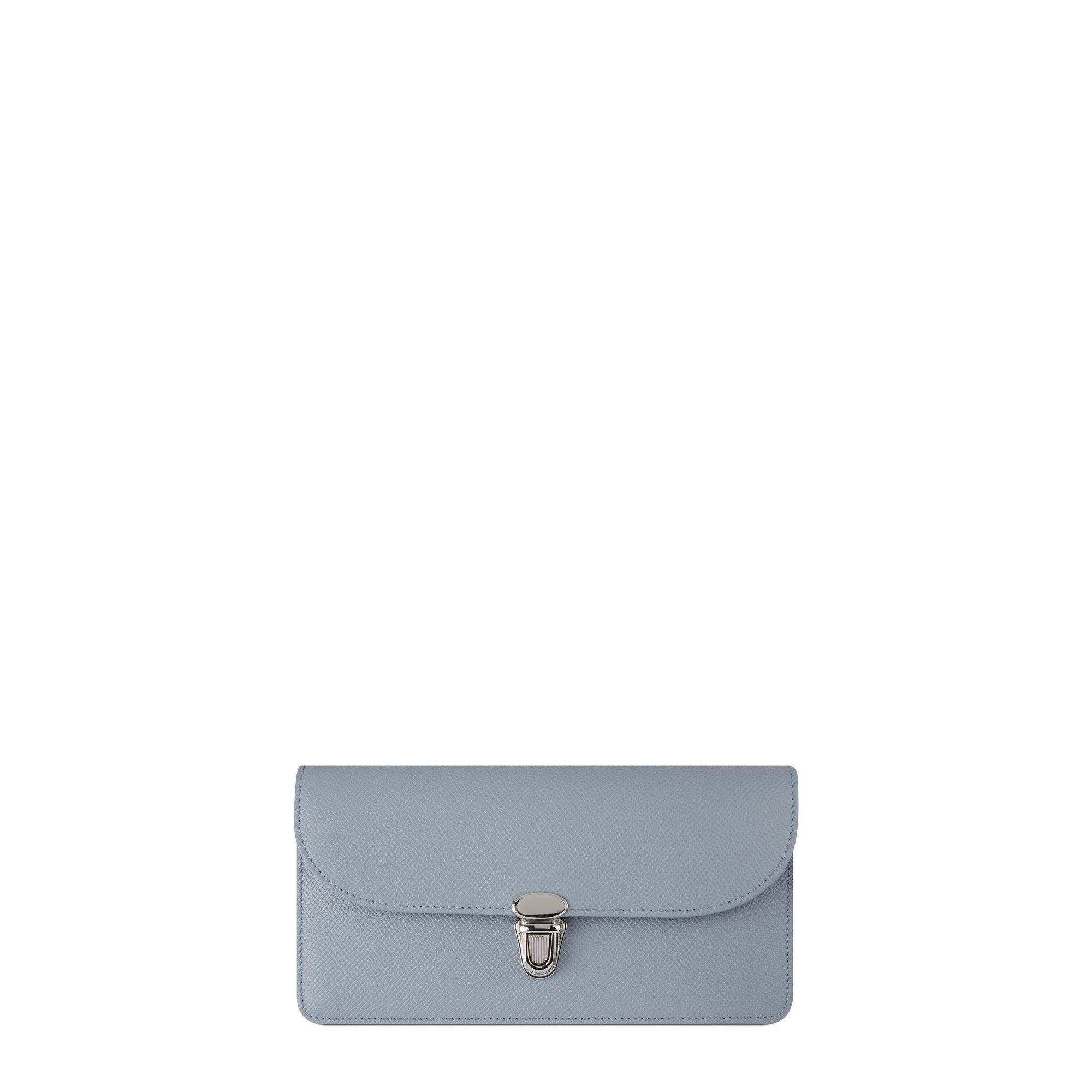 New Saffiano Push Lock Purse with card slots in Leather - French Grey Saffiano