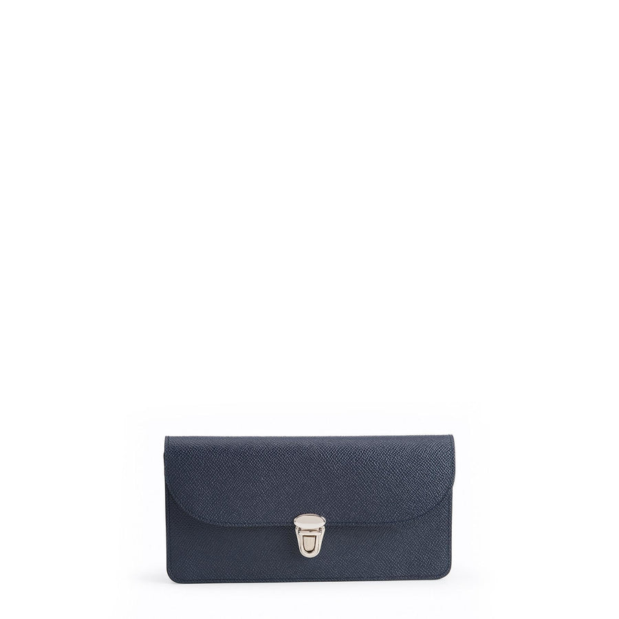 Push Lock Purse in Saffiano Leather - Navy Saffiano