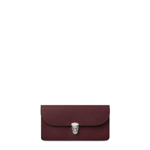 Push Lock Purse in Saffiano Leather - Oxblood Saffiano