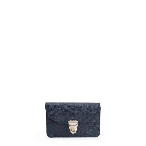 Small Push Lock Purse in Saffiano Leather - Navy Saffiano