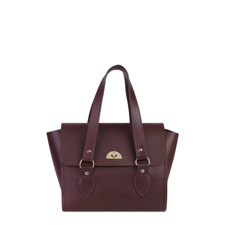 The Small Emily Tote in Saffiano Leather - Oxblood