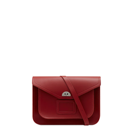 Twist Lock Satchel in Leather - Red