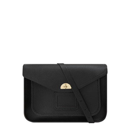 Twist Lock Satchel in Leather - Black Celtic Grain