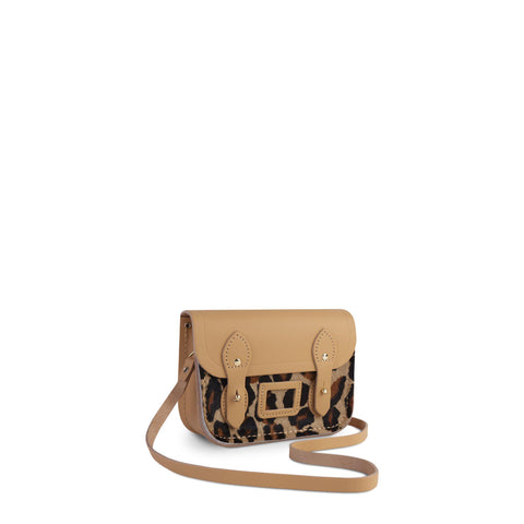 Tiny Satchel in Leather - Safari Sand with Leopard Print Haircalf Pocket
