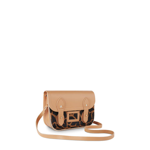 Tiny Satchel in Leather - Sand & Giraffe Haircalf