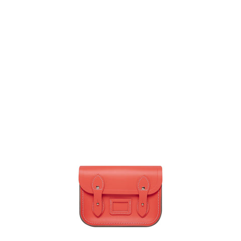Tiny Satchel in Leather - Fluoro Red