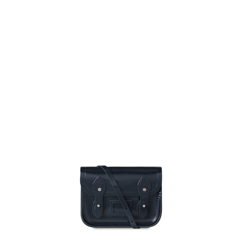 Tiny Satchel in Leather - Navy Patent