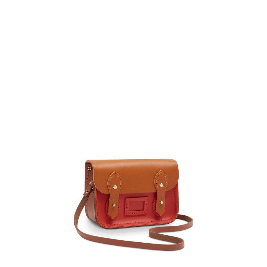 Tiny Satchel in Leather - Spice, Caramello & Nutmeg | Women's Clutch Bag & Cross Body