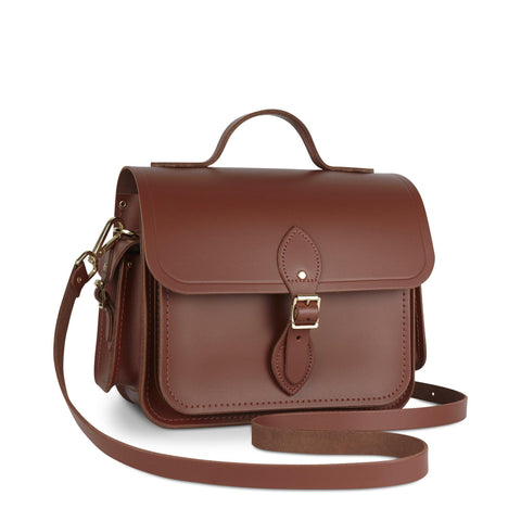 Large Traveller Bag with Side Pockets in Leather - Saddle