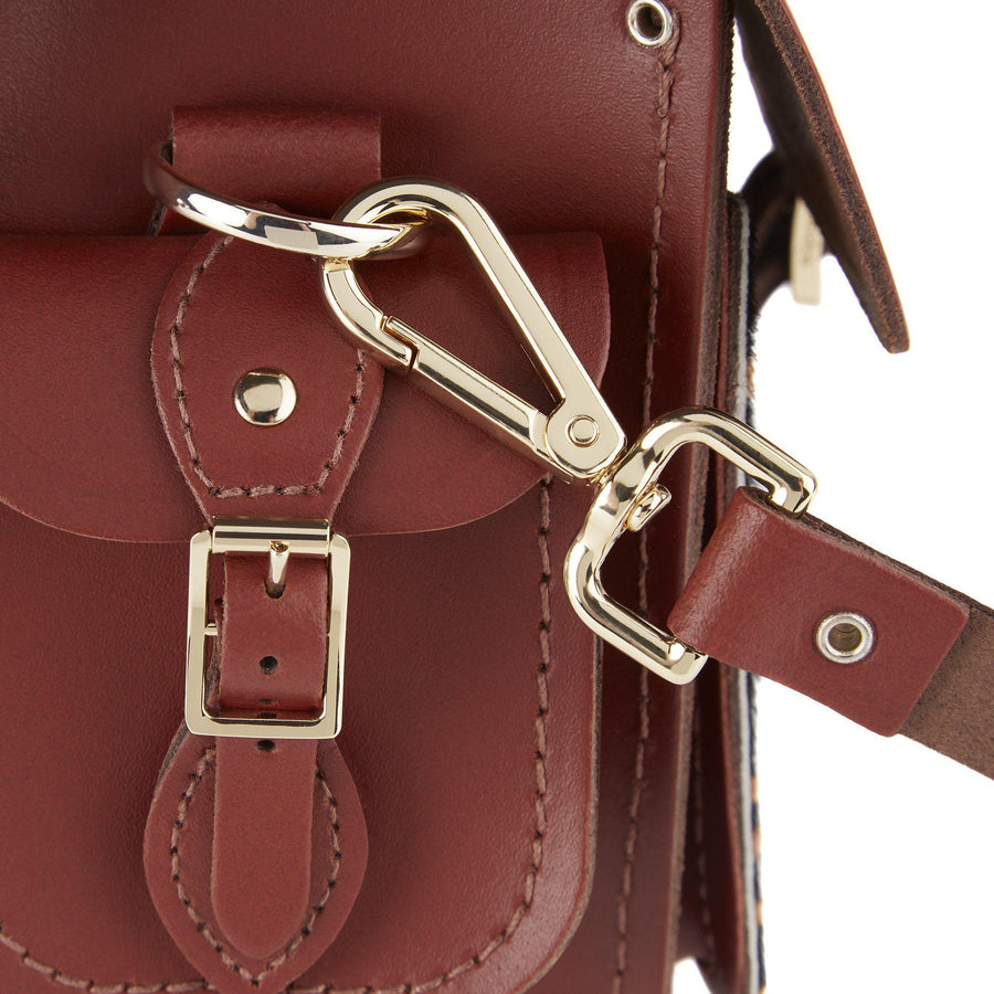 Traveller Bag with Side Pockets in Leather - Brandy & Giraffe Haircalf