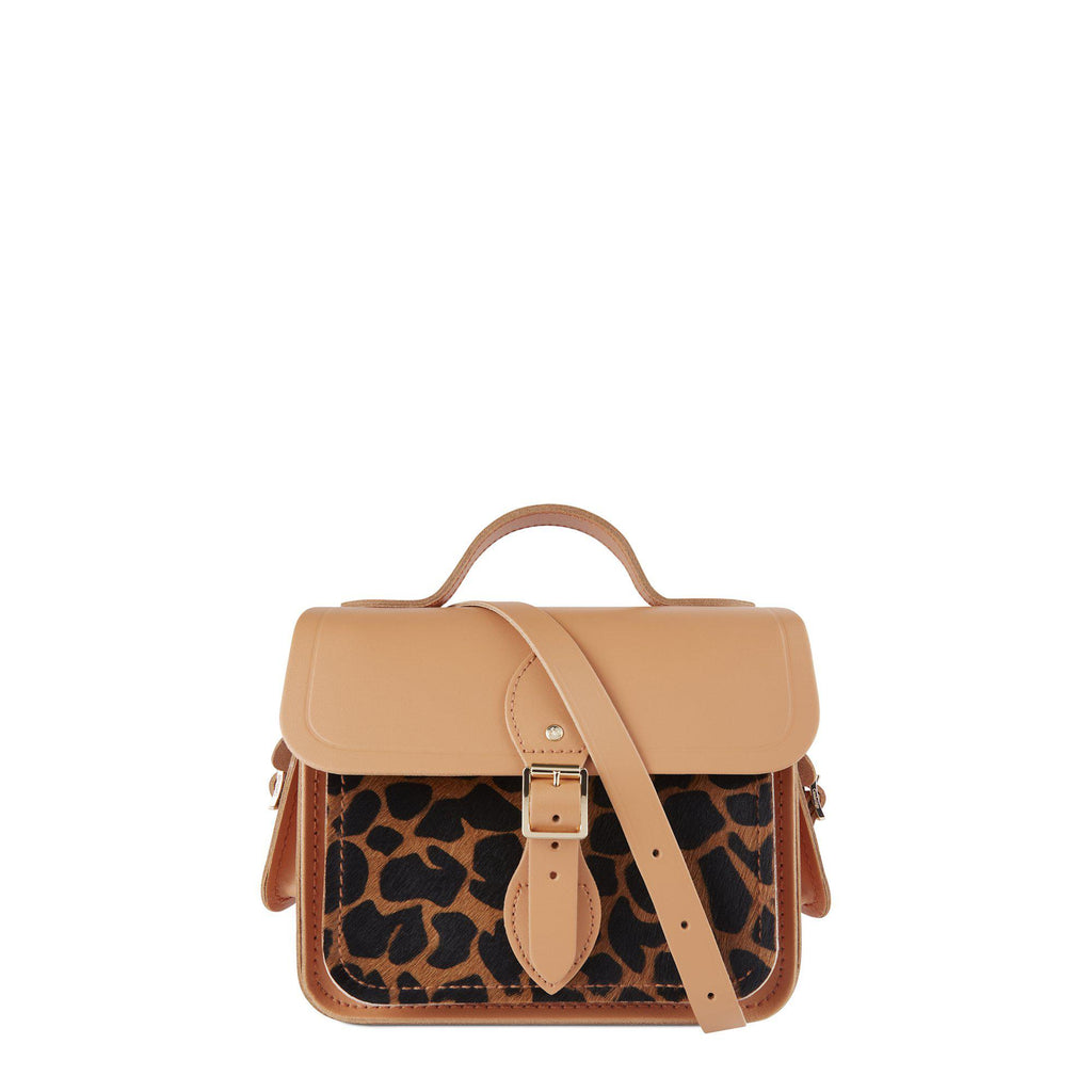 Cambridge Satchel Traveller Bag with Side Pockets in Leather – Sand & Giraffe Haircalf