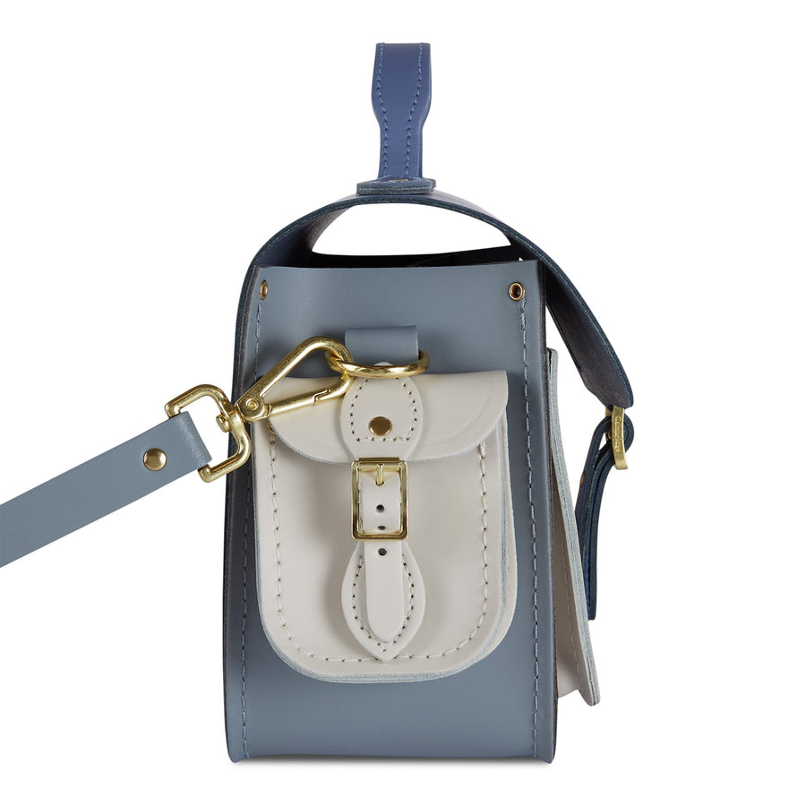 Traveller Bag with Side Pockets in Tri-Colour Leather - Italian Blue Matte, French Grey & Clay