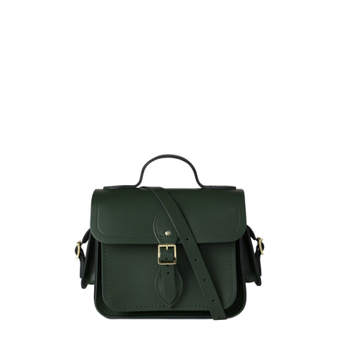 Traveller Bag with Side Pockets in Leather - Racing Green