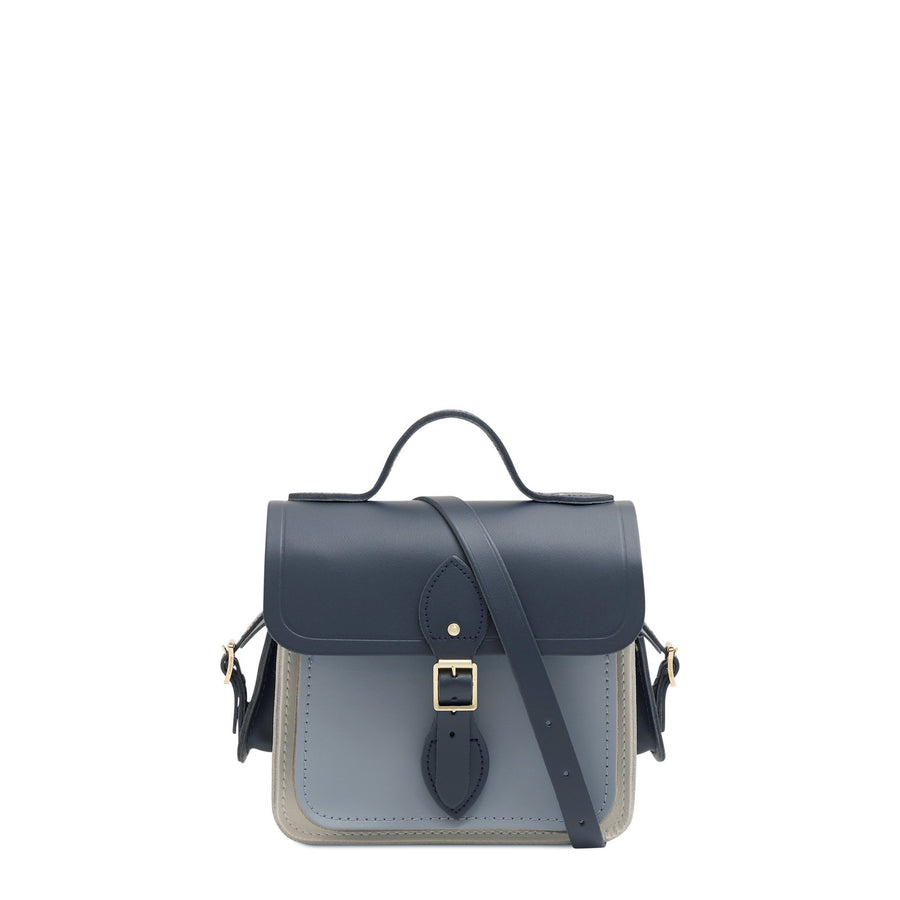 Traveller Bag with Side Pockets in Leather - Navy, Lily White & French Grey