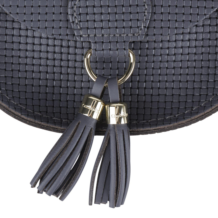 Mini Tassel Bag in Leather - Dapple Matte Lattice & Dapple Split Tassels
