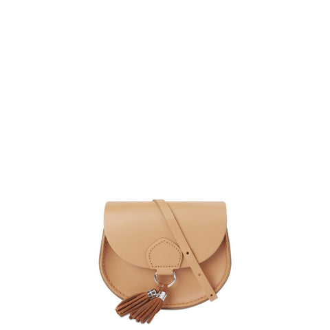 Mini Tassel Bag in Leather - Sand & Vintage Suede