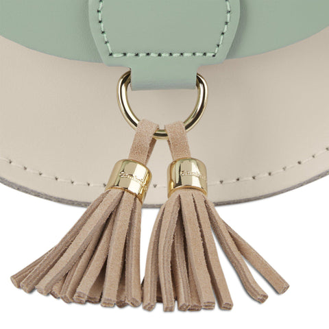 Mini Tassel Bag in Leather - Sabi Green & Clay