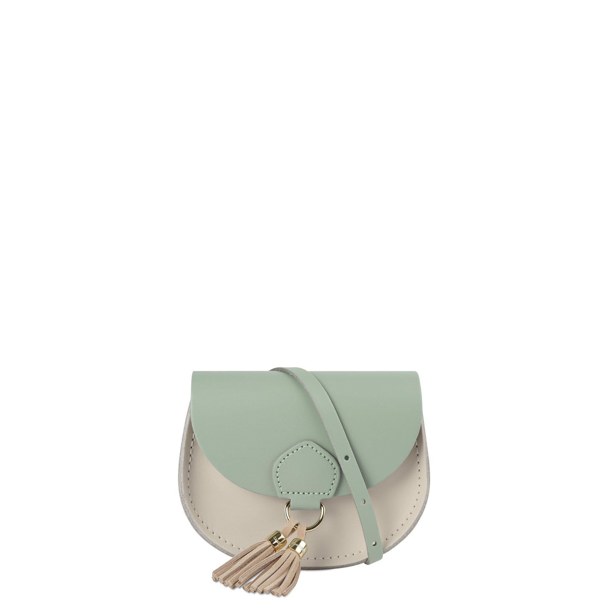 Mini Tassel Bag in Leather - Oasis Green & Clay Flax Suede