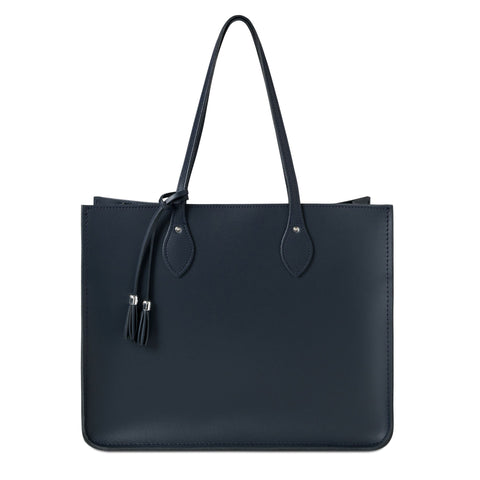 Tassel Tote in Leather - Navy