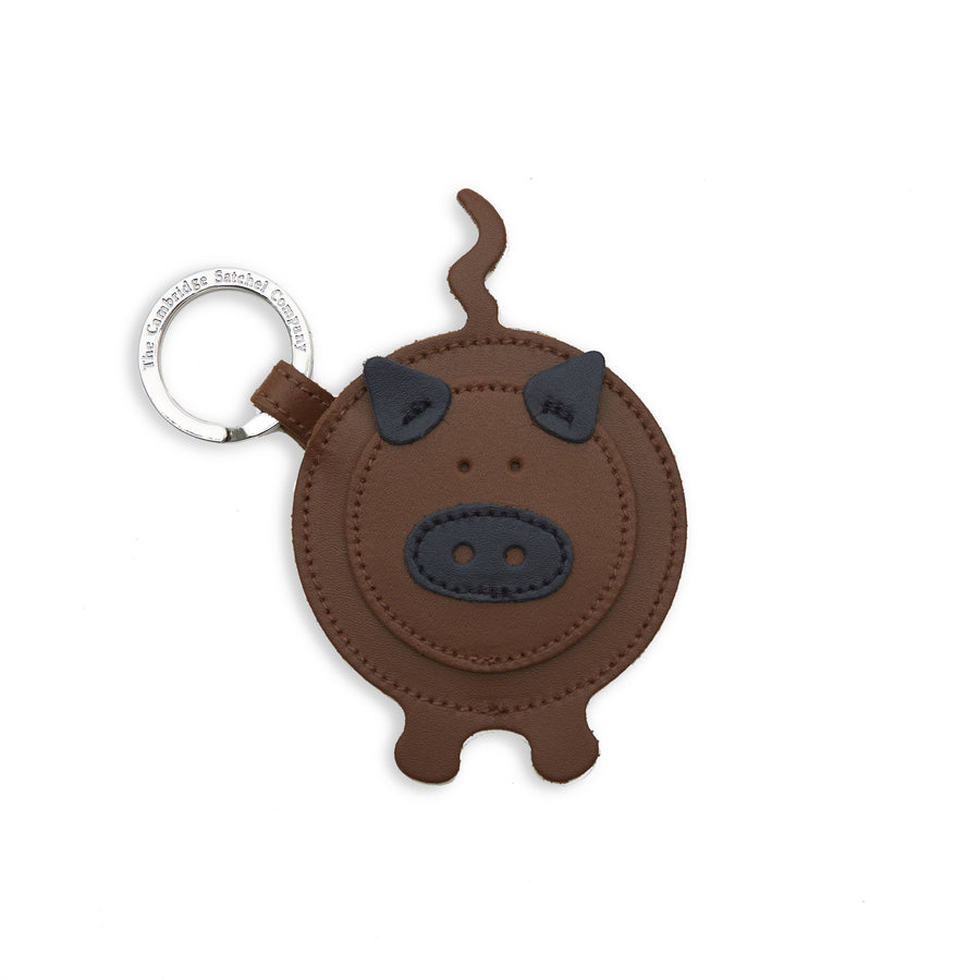 Year of the Pig Keyring in Leather - Vintage & Navy