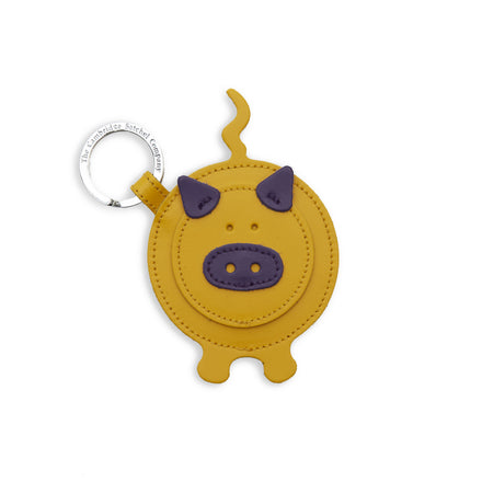 Pip the Pig Keyring in Leather - Yellow & Purple