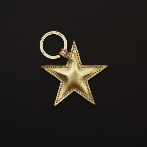 Star Keyring in Leather - Gold Mirror
