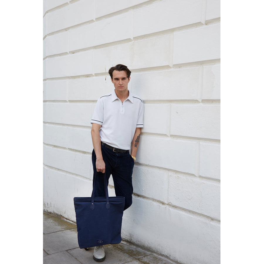 Mens-Large Canvas Tote - Navy Canvas & Navy Leather Trim