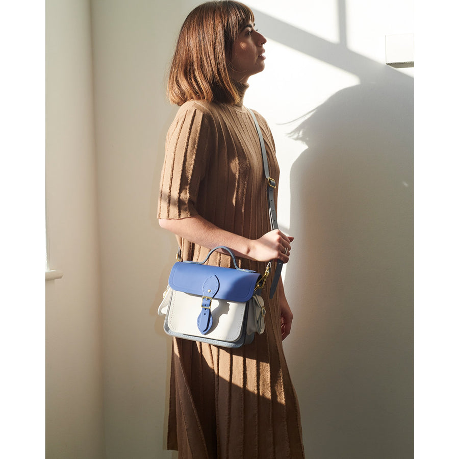Traveller Bag with Side Pockets in Leather - Italian Blue Matte, French Grey & Clay | Cambridge Satchel