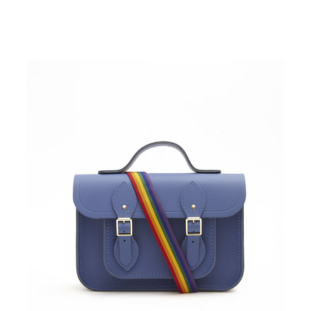 11 Inch Magnetic Batchel in Leather - Italian Blue Matte with Rainbow Webbing Strap