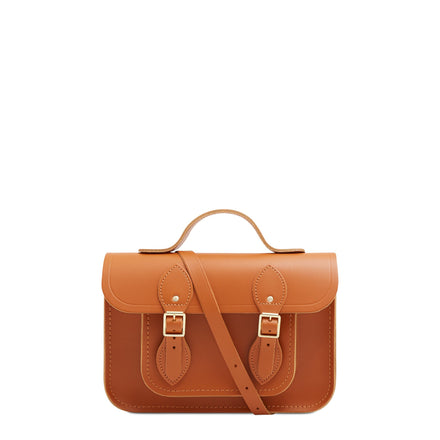 11 Inch Magnetic Batchel in Leather - Caramello | Unisex Leather Satchel