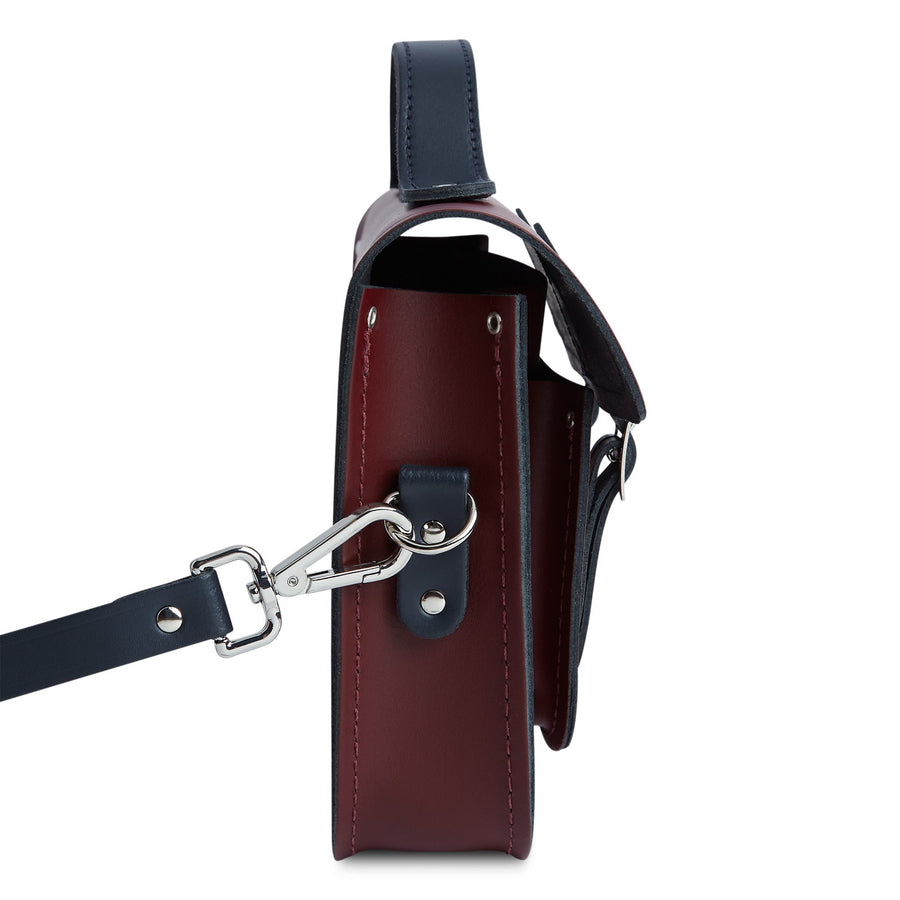 11 Inch Magnetic Batchel in Leather - Oxblood & Navy