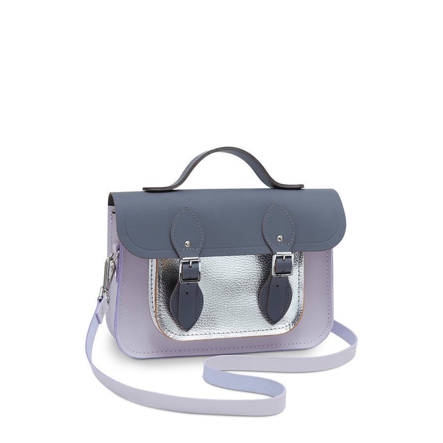 11 Inch Magnetic Batchel in Leather - Dapple Matte, Parma Violet Matte & Silver Celtic Grain  | Women's Satchel