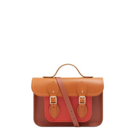 11 Inch Magnetic Batchel in Leather - Spice, Caramello & Nutmeg | Unisex Leather Satchel