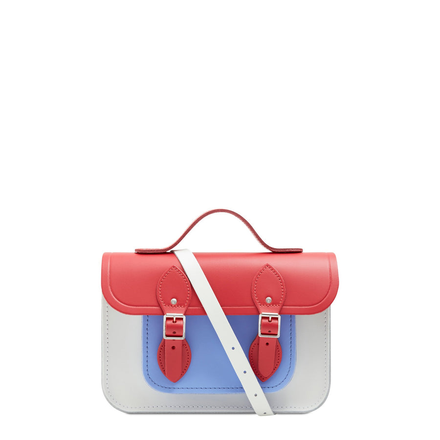 11 Inch Magnetic Batchel in Leather - Red Berry, Bluebell & Snowdrop Matte