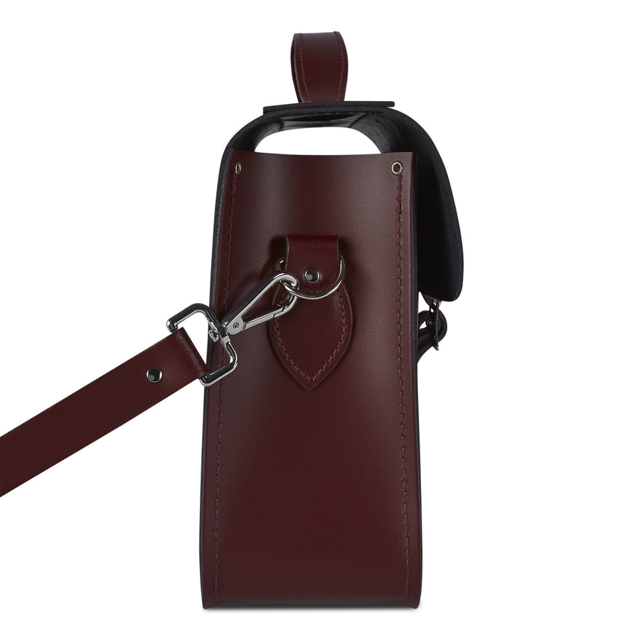15 Inch Classic Batchel in Leather - Oxblood with Red Tartan