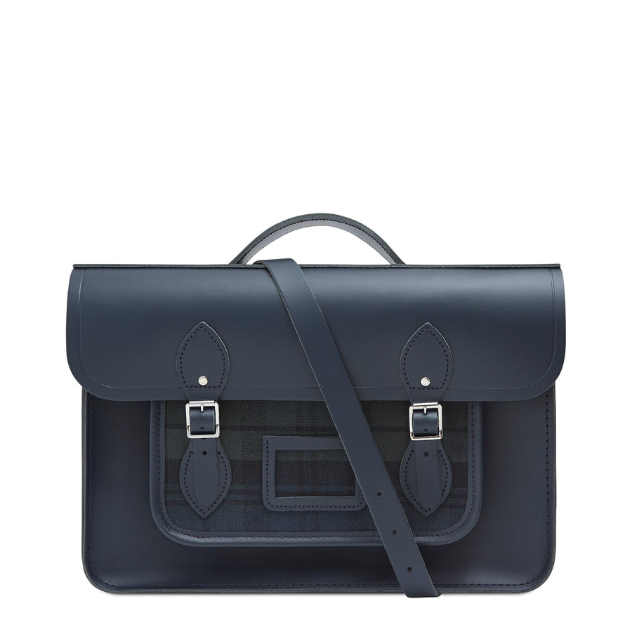 15 Inch Classic Batchel in Leather - Black Watch Canvas & Navy | Cambridge Satchel Company