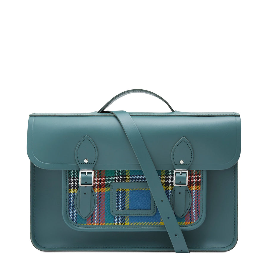 15 Inch Classic Batchel in Leather - Fir & Strome Macbeth Tartan | Cambridge Satchel