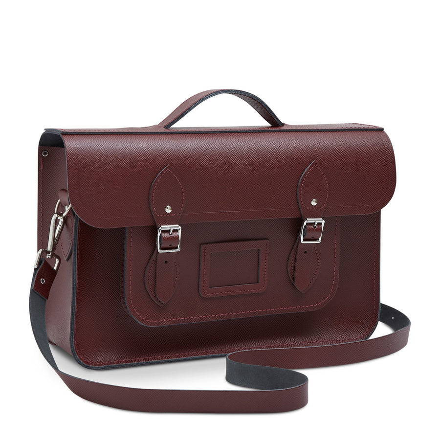 15 Inch Classic Batchel in Leather - Oxblood Saffiano | Cambridge Satchel