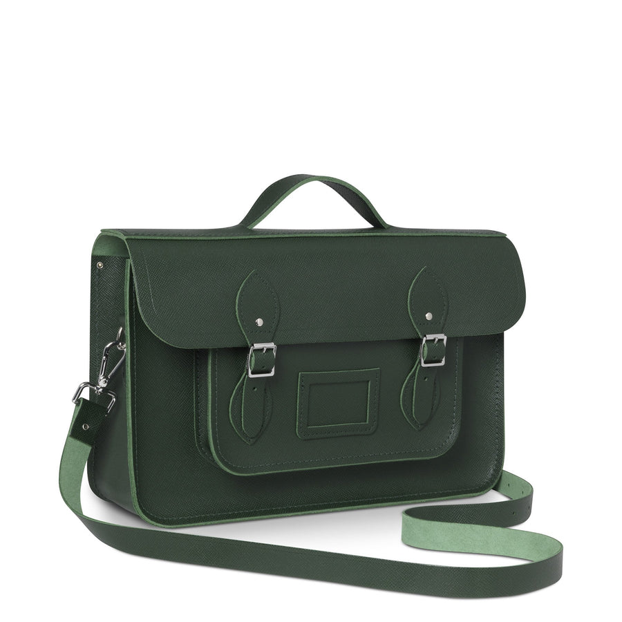 15 Inch Classic Batchel in Leather - Racing Green Saffiano