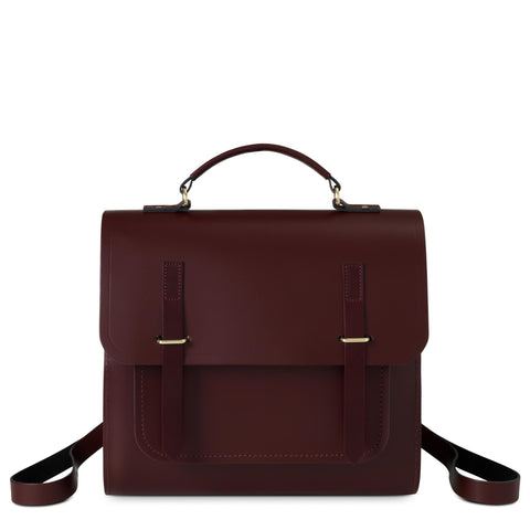 Bridge Closure Backpack in Leather - Oxblood & Burgundy