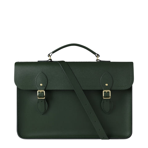 Large Briefcase in Saffiano Leather - Racing Green Saffiano