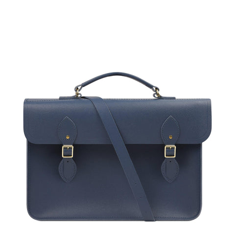 Large Briefcase in Leather - Peacock