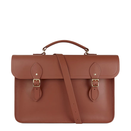 Large Briefcase in Leather - Nutmeg