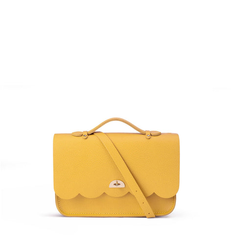 Cloud Bag with Handle in Grain Leather - Mustard Grain