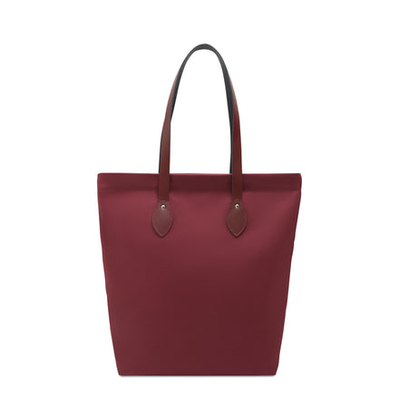 Canvas Tote - Oxblood Canvas & Oxblood Leather Trim | Cambridge Satchel
