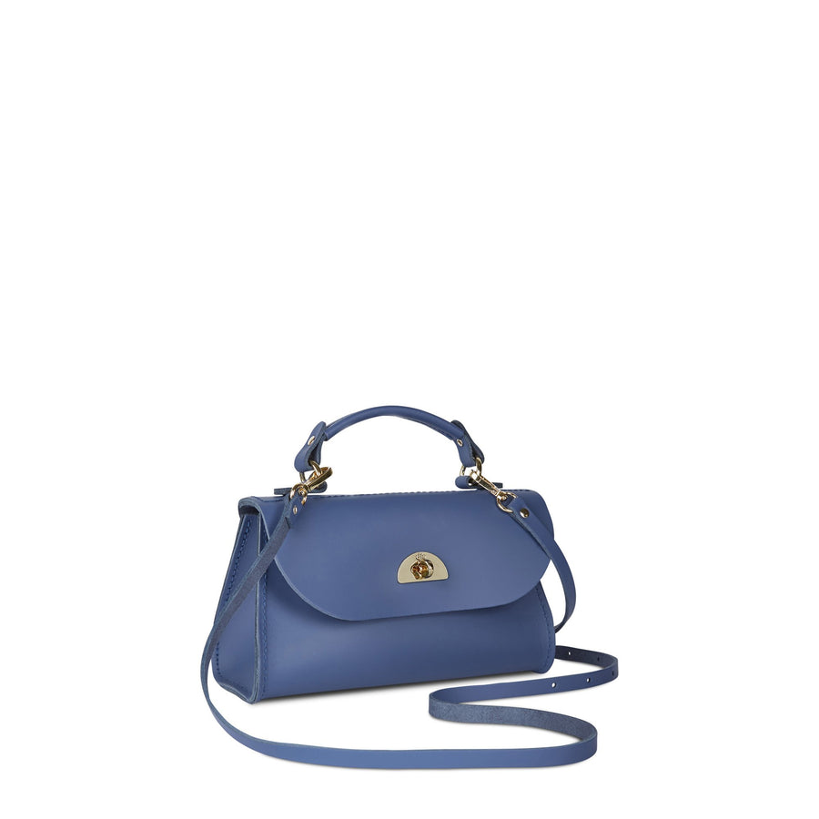 Mini Daisy Bag in Leather - Italian Blue Matte