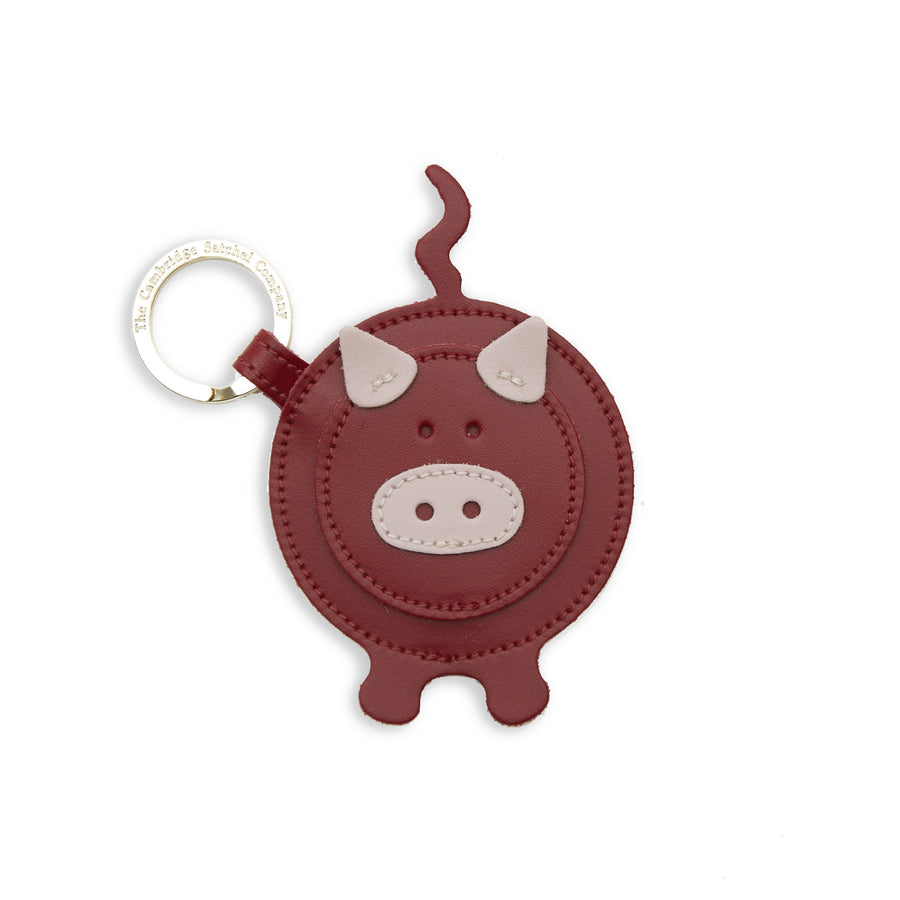 Year of the Pig Keyring in Leather - Dusky Rose & Red